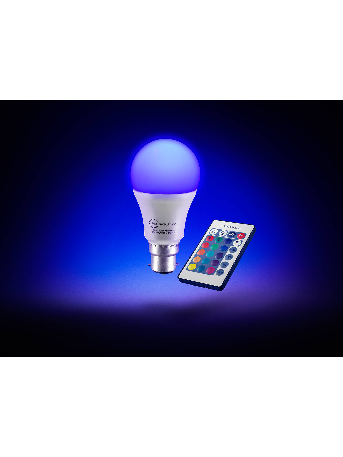 BuyAuraglow 7W BC A60 LED Bulb and Remote Control, Multi Online at johnlewis.com