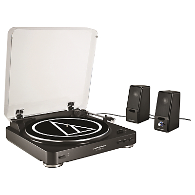Image of Audio-Technica AT-LP60 Turntable with Active Speakers, Black
