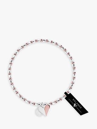 Joma Jewellery Beaded Heart Bracelet, Silver/Rose Gold