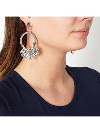 Buy John Lewis Glass Crystal Cord Hoop Statement Drop Earrings, Natural/Clear Online at johnlewis.com