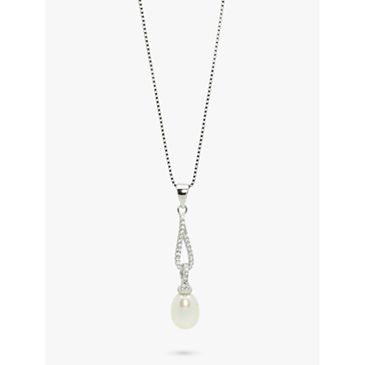 Product photo of Lido pearls long oval cubic zirconia and freshwater pearl pendant necklace silver
