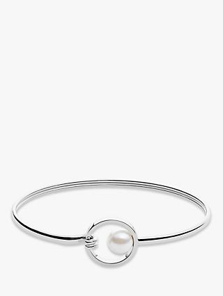 Skagen Agnethe Crystal Faux Pearl Circle Bangle, Silver SKJ0975040