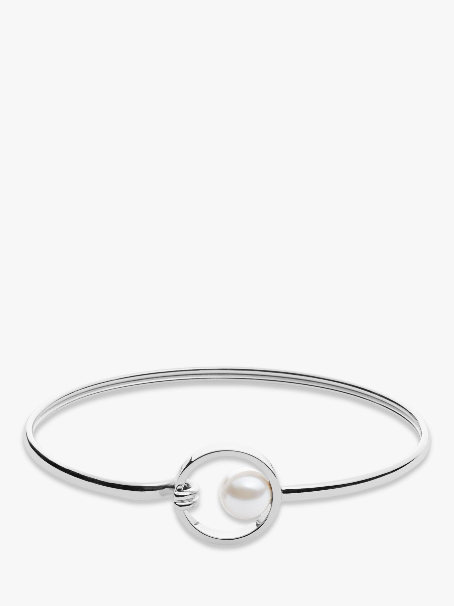 skagen Skagen Agnethe Crystal Faux Pearl Circle Bangle, Silver SKJ0975040