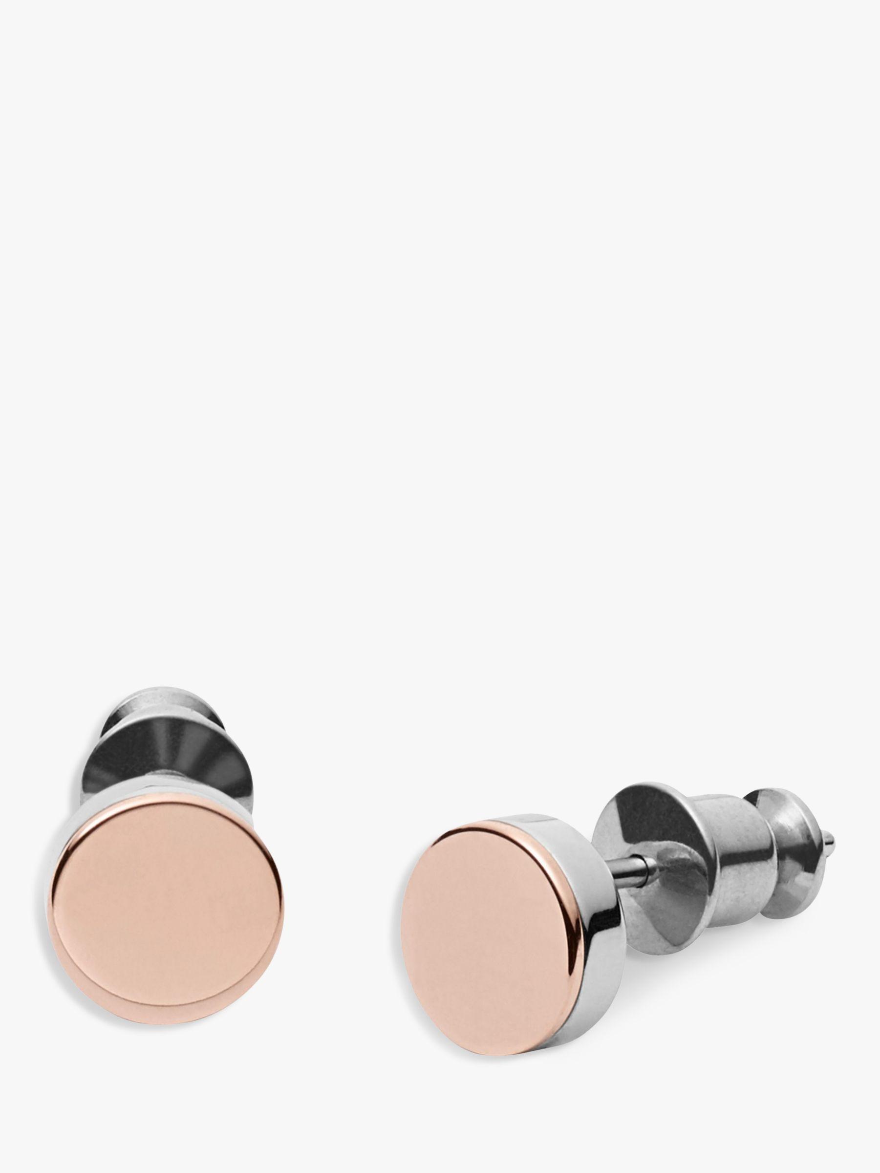 skagen Skagen Elin Round Stud Earrings, Rose Gold/Silver SKJ0959998