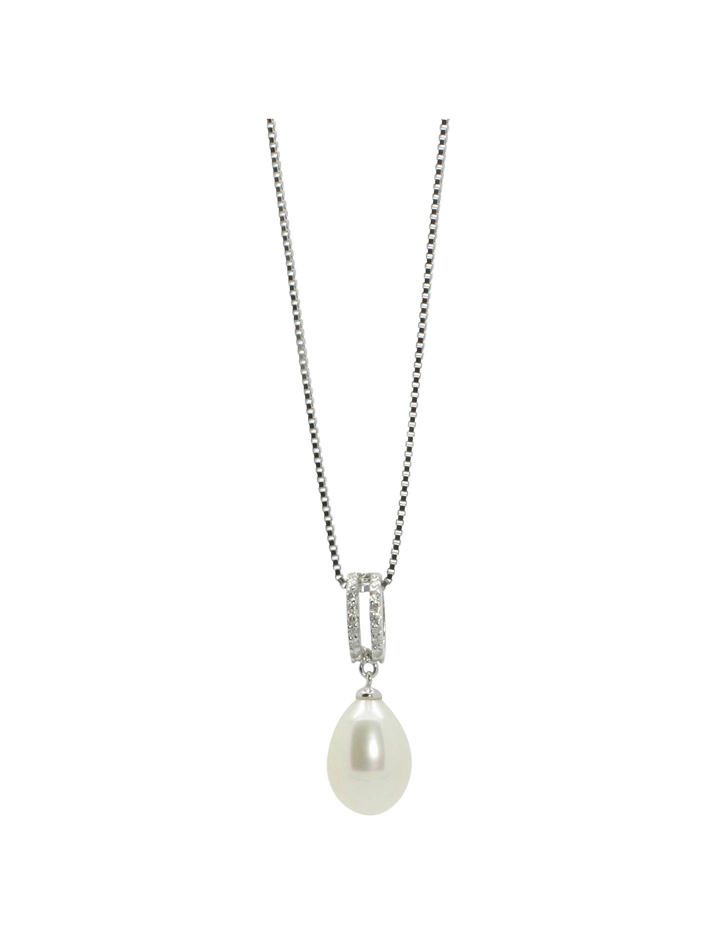 a98da142b6a2 Buy Lido Pearls Double Row Cubic Zirconia Freshwater Pearl Drop Pendant  Necklace, Silver/White
