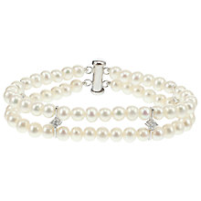 Buy Lido Pearls Freshwater Pearl Cubic Zirconia Detail Double Row Bracelet, White Online at johnlewis.com