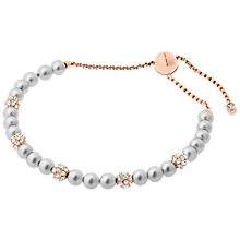 Buy Michael Kors Pearl and Glass Slider Bracelet, Grey/Rose Gold Online at johnlewis.com