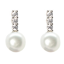 Buy Lido Pearls Freshwater Pearl and Cubic Zirconia Bar Drop Earrings, Silver/White Online at johnlewis.com