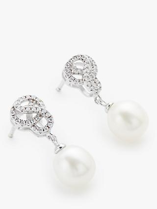 Lido Freshwater Pearl Knot Swirl Drop Earrings, Silver/White