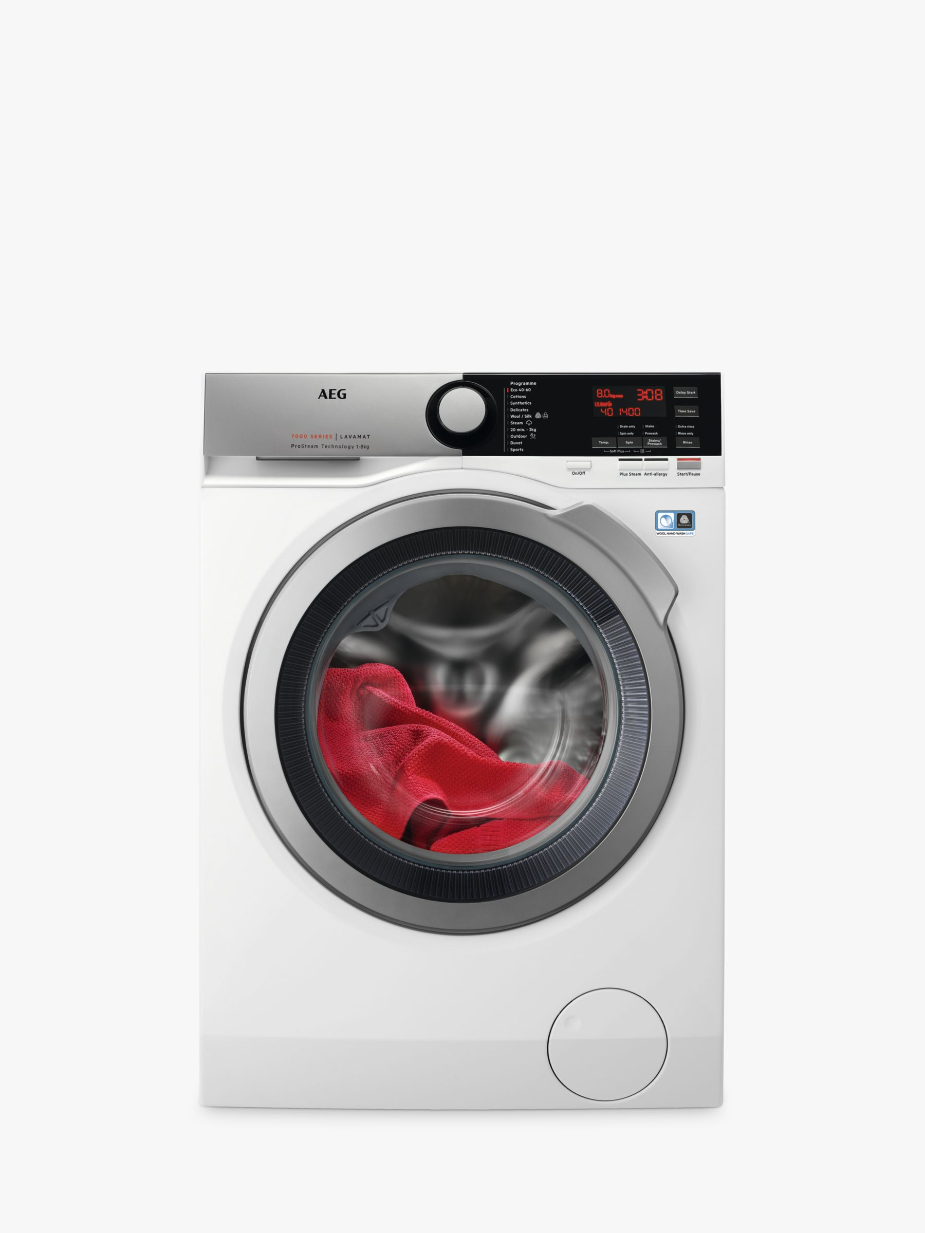 AEG AEG ProSteam Technology L7FEE865R Freestanding Washing Machine, 8kg Load, A+++ Energy Rating, 1600rpm Spin, White