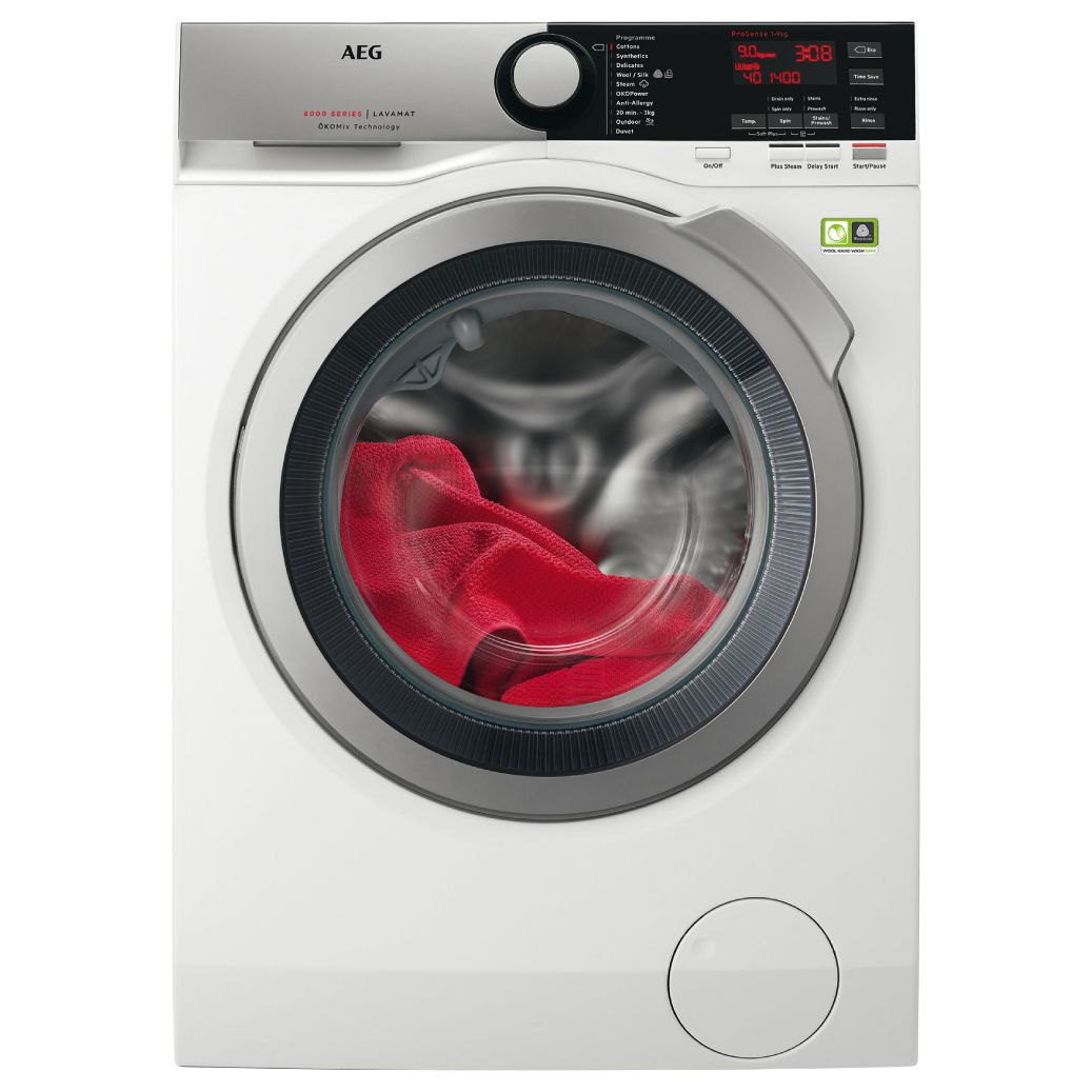 AEG L8FEE965R Freestanding Washing Machine, 9kg Load, A+++ Energy Rating, 1600rpm Spin, White at John Lewis & Partners