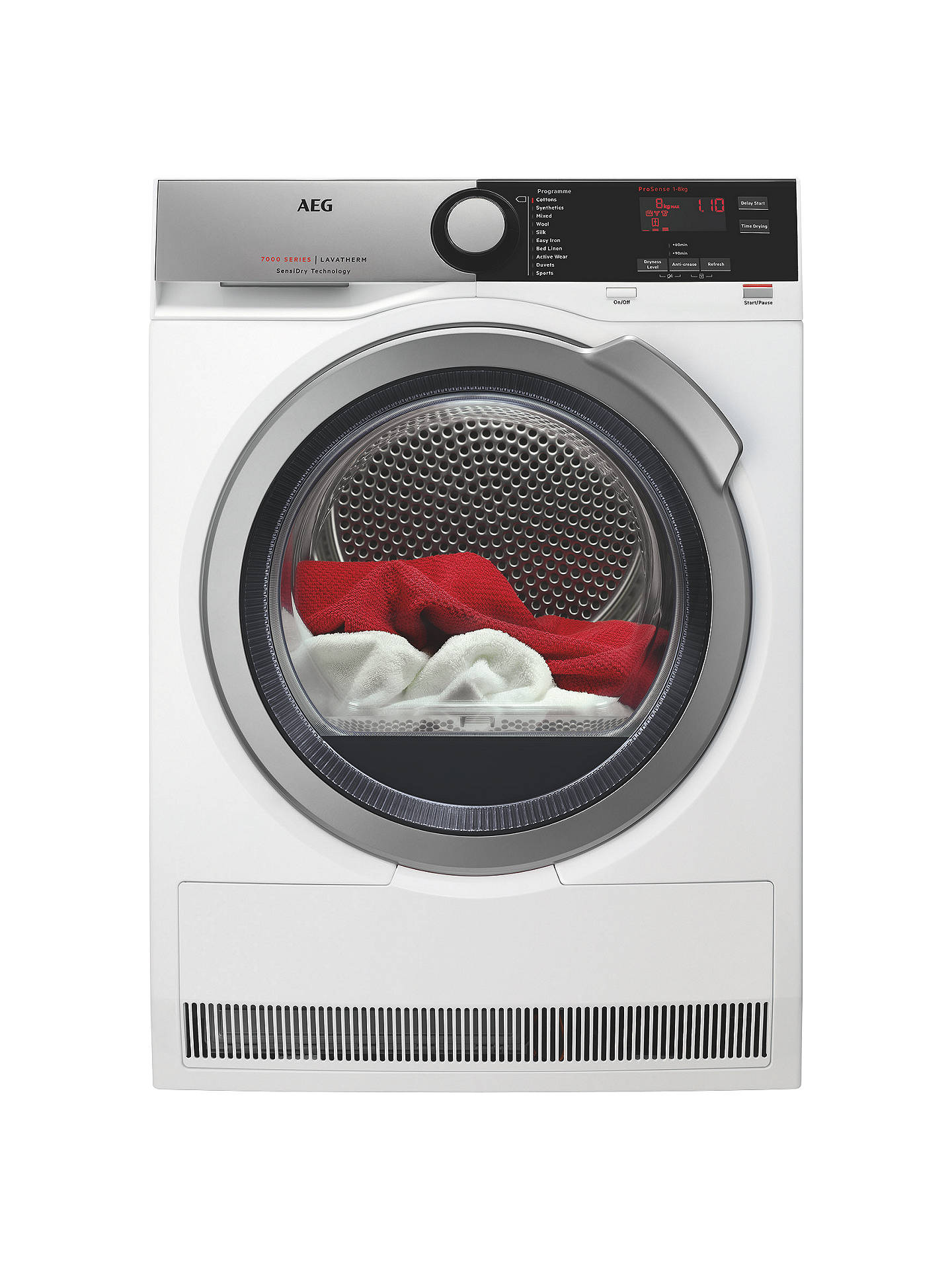 BuyAEG T7DEE835R Heat Pump Tumble Dryer, 8kg Load, A+ Energy Rating, White Online at johnlewis.com