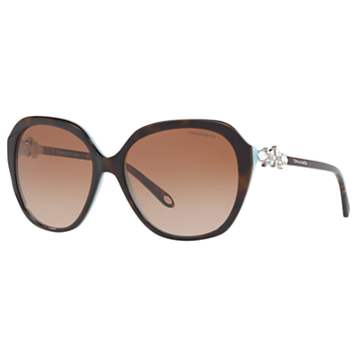 Tiffany & Co TF4132HB Embellished Square Sunglasses, Tortoise/Brown Gradient