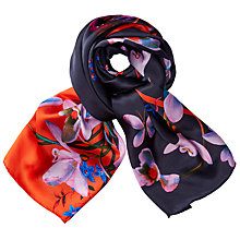 Buy Ted Baker Amiso Tropical Oasis Silk Scarf, Navy/Burnt Orange Online at johnlewis.com