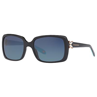 Tiffany & Co TF4047B Polarised Embellished Rectangular Sunglasses, Black/Sky Blue