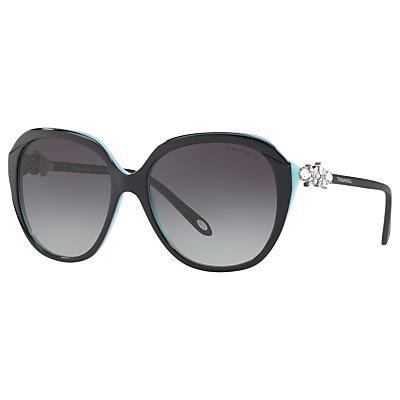 Tiffany & Co TF4132HB Embellished Square Sunglasses, Polished Black/Grey Gradient