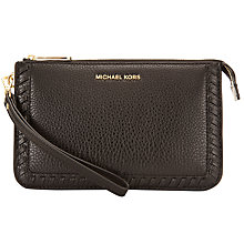 Buy MICHAEL Michael Kors Lauryn Leather Medium Wristlet Purse, Black Online at johnlewis.com
