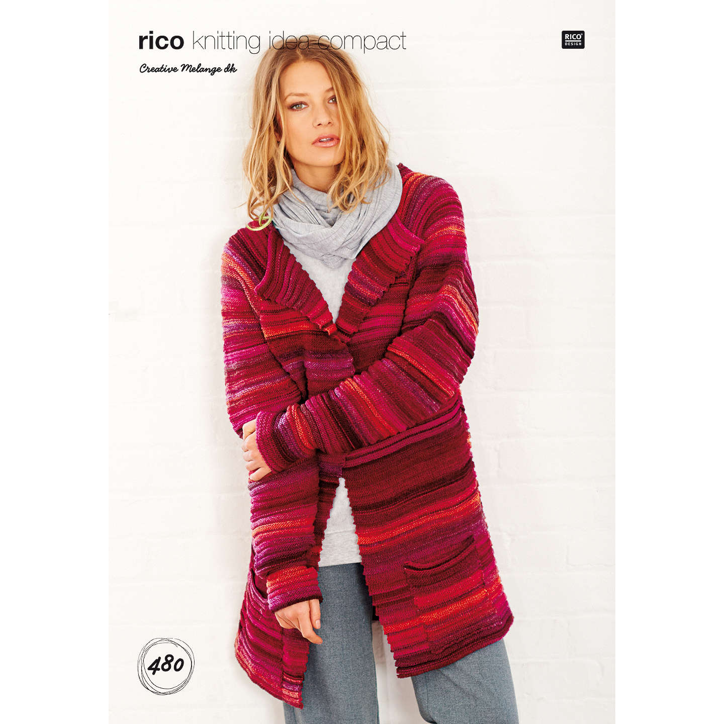 Rico Creative Melange DK Women\'s Cardigan Knitting Pattern, 480 at ...