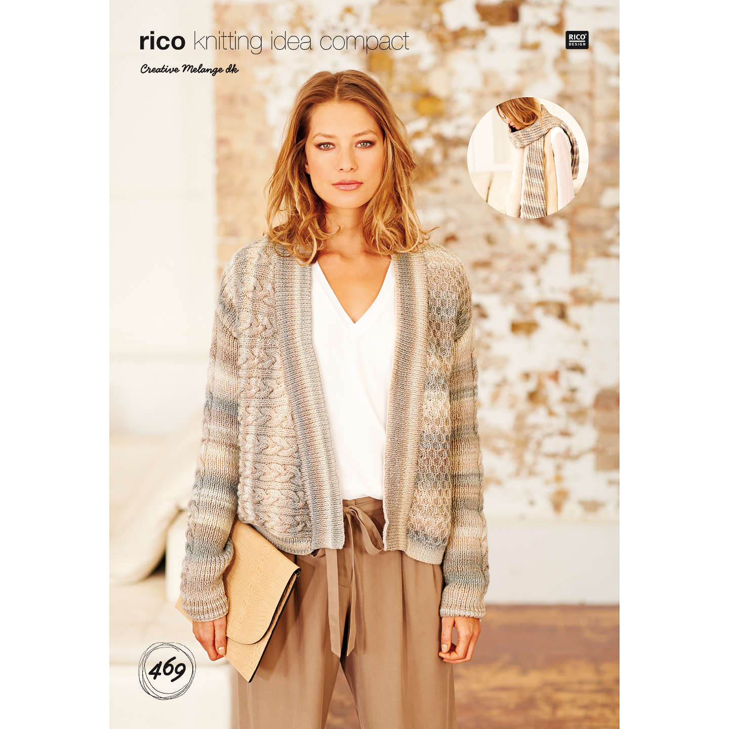 Rico Creative Melange DK Women\'s Cardigan Knitting Pattern, 469 at ...