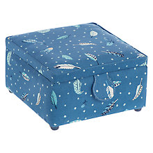 Buy John Lewis Feathers Fly Print Square Sewing Basket, Blue Online at johnlewis.com