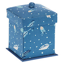 Buy John Lewis Feathers Fly Print Victorian Sewing Box, Blue Online at johnlewis.com