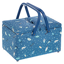 Buy John Lewis Feathers Fly Print Twin Lid Sewing Basket, Blue Online at johnlewis.com