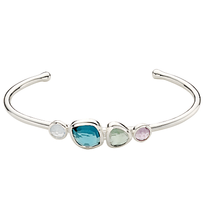 Product photo of John lewis gemstones multi stone open cuff silver multi