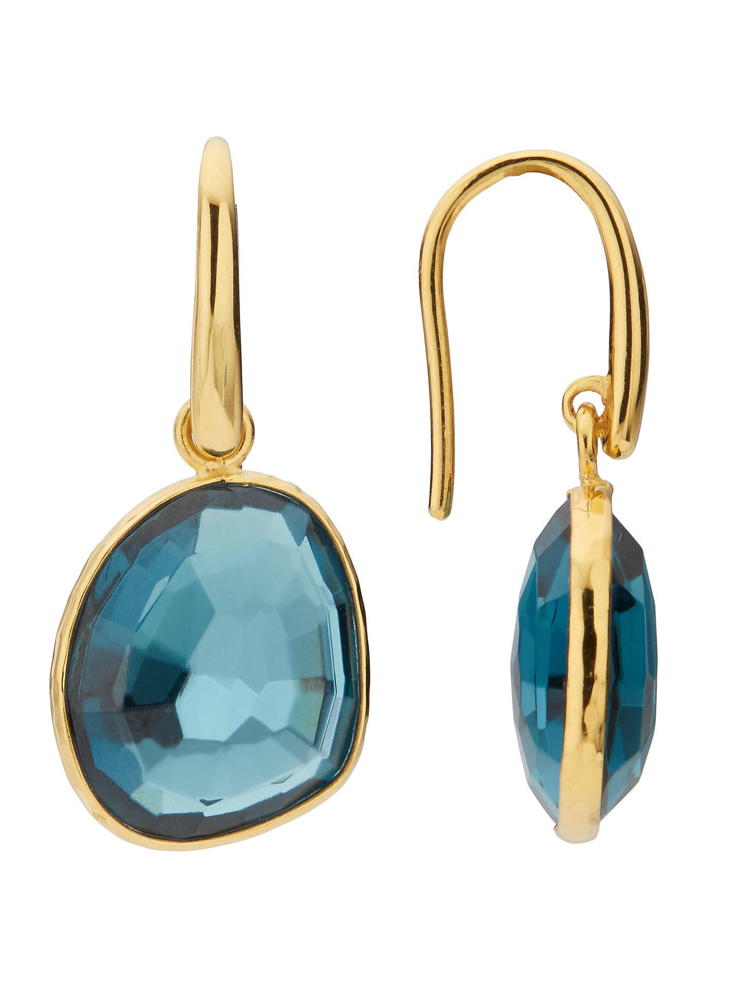 John Lewis Semi Precious Stone Simple Drop Earrings Gold Topaz Online At Johnlewis