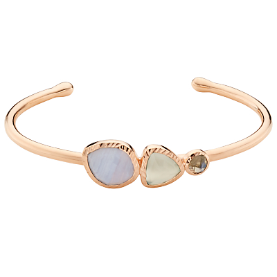 Product photo of John lewis gemstones multi stone open cuff rose gold multi