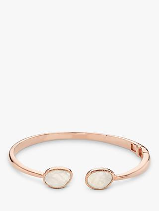 John Lewis & Partners Gemstones Hinged Cuff, Rose Gold/Rainbow Moonstone