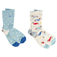 Buy Fat Face Dogs in Jumpers and Hearts Print Ankle Socks, Pack of 2, Natural/Duck Egg Online at johnlewis.com