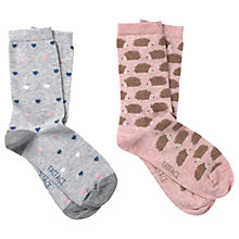 Buy Fat Face Heart and Hedgehog Print Ankle Socks, Pack of 2, Salmon/Grey Online at johnlewis.com