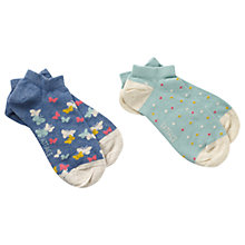 Buy Fat Face Butterfly Trainer Socks, Pack of 2, Navy/Mint Online at johnlewis.com