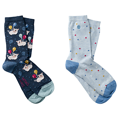 Fat Face Flying Pigs Print Ankle Socks, Pack of 2, Navy/Sky Blue
