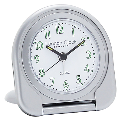 London Clock Company Flip Alarm Travel Clock, Silver