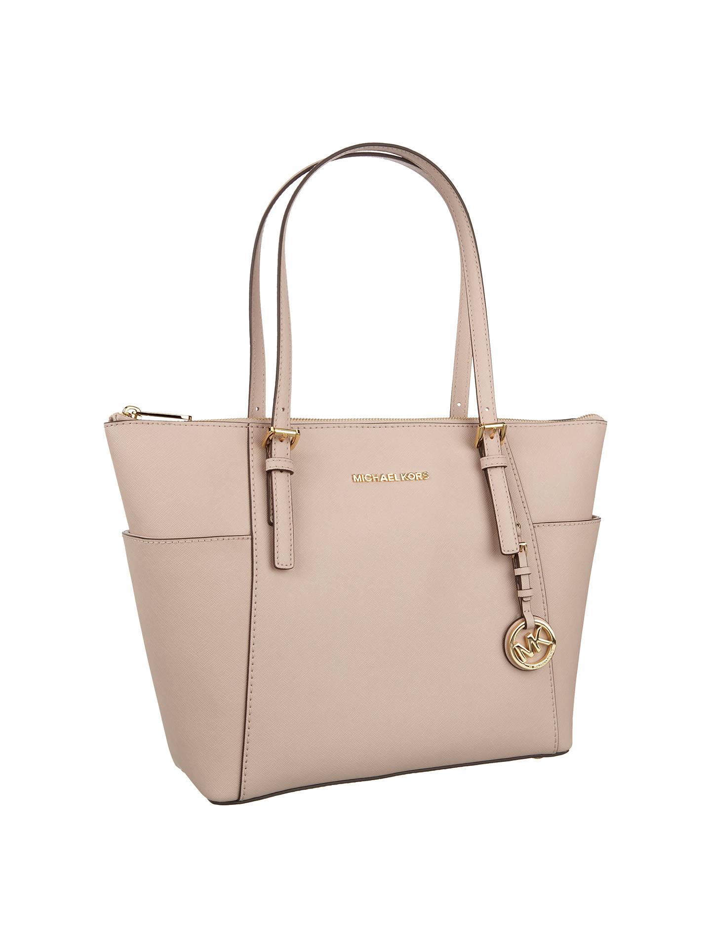 ec0594aad ... Buy MICHAEL Michael Kors Jet Set East/West Leather Tote Bag, Soft Pink  Online