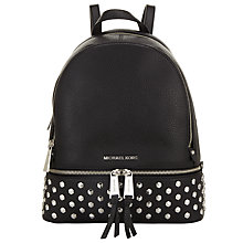 Buy MICHAEL Michael Kors Rhea Leather Studded Backpack, Black Online at johnlewis.com