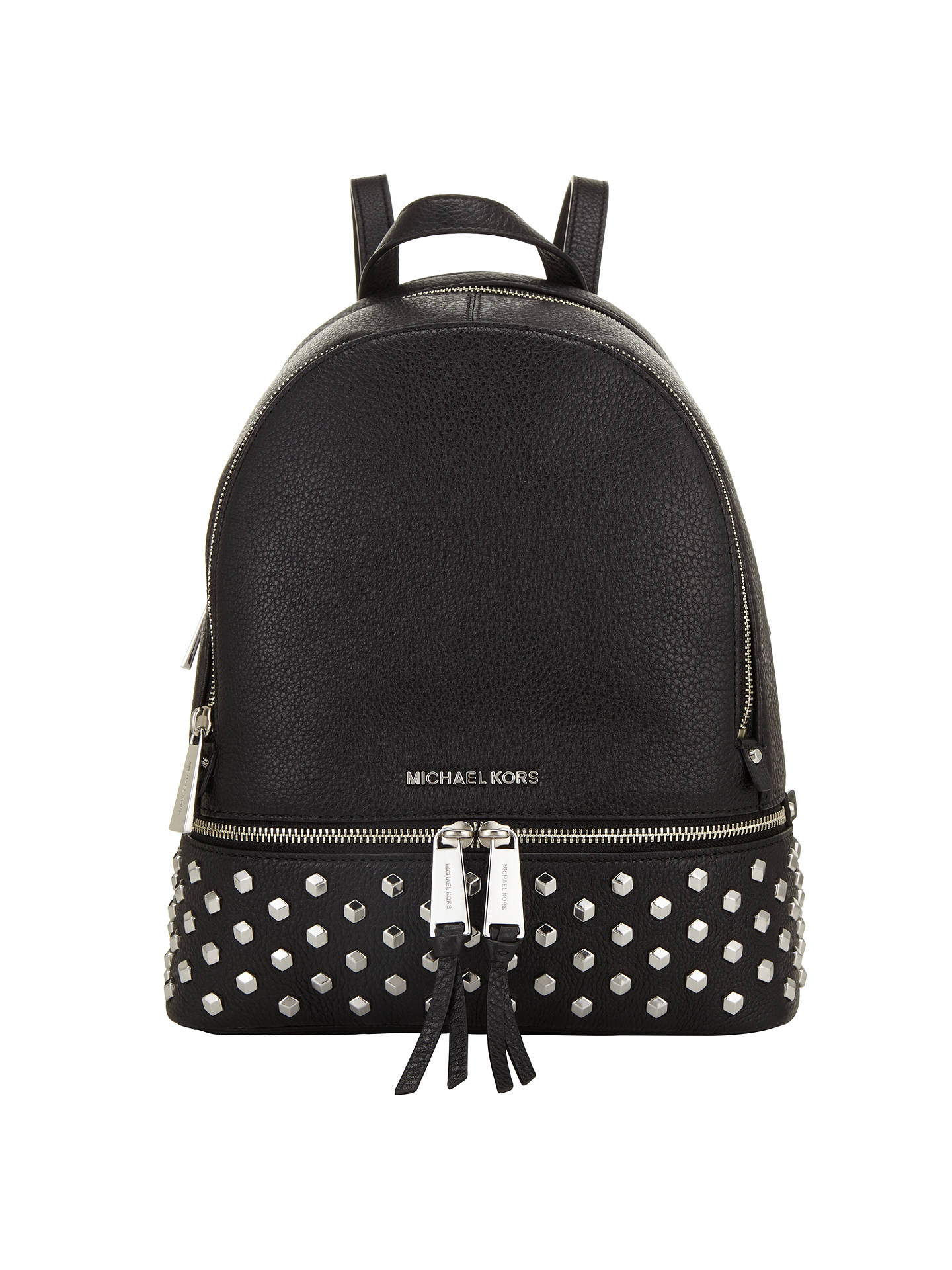 7155fdfe1252 ... low price buymichael michael kors rhea leather studded backpack black  online at johnlewis d230e 61919
