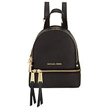 Buy MICHAEL Michael Kors Rhea Extra Small Leather Backpack, Smooth Black Online at johnlewis.com