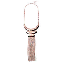 Buy Adele Marie Statement Beaten Effect Tassel Pendant Necklace, Rose Gold Online at johnlewis.com