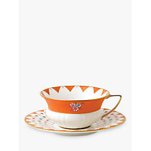 Buy Wedgwood Wonderlust Peony Diamond Cup and Saucer Set, Multi, 180ml Online at johnlewis.com