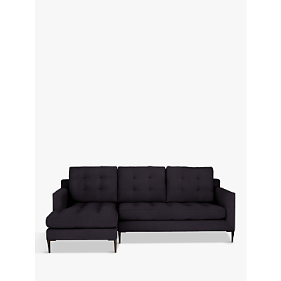John Lewis Draper LHF Chaise End Sofa, Dark Leg, Harriet Charcoal