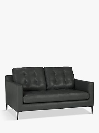 John Lewis & Partners Draper Medium 2 Seater Sofa, Metal Leg, Winchester Anthracite Leather