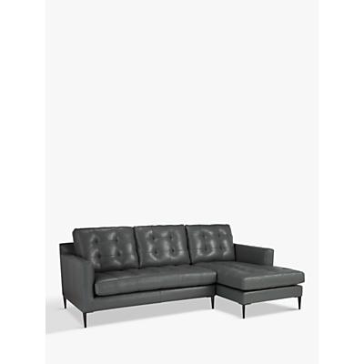 John Lewis Draper RHF Chaise End Sofa, Metal Leg, Winchester Anthracite Leather