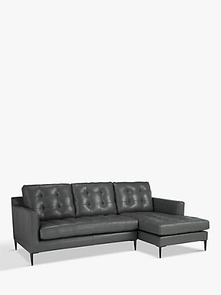 John Lewis & Partners Draper RHF Chaise End Sofa, Metal Leg, Winchester Anthracite Leather