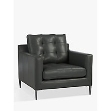Buy John Lewis Draper Armchair, Chrome Leg, Winchester Anthracite Leather Online at johnlewis.com