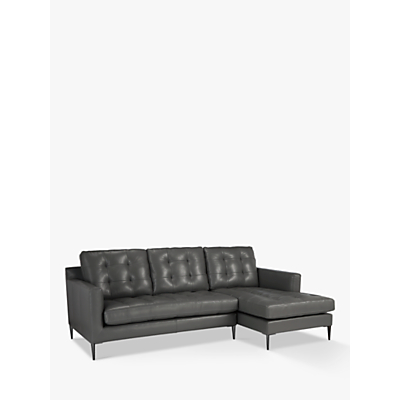 John Lewis Draper LHF Chaise End Sofa, Chrome Leg, Winchester Anthracite Leather