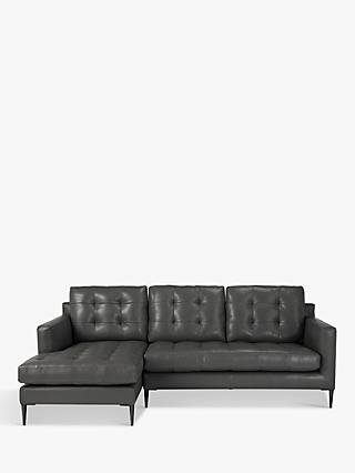 John Lewis & Partners Draper LHF Chaise End Sofa, Metal Leg, Winchester Anthracite Leather