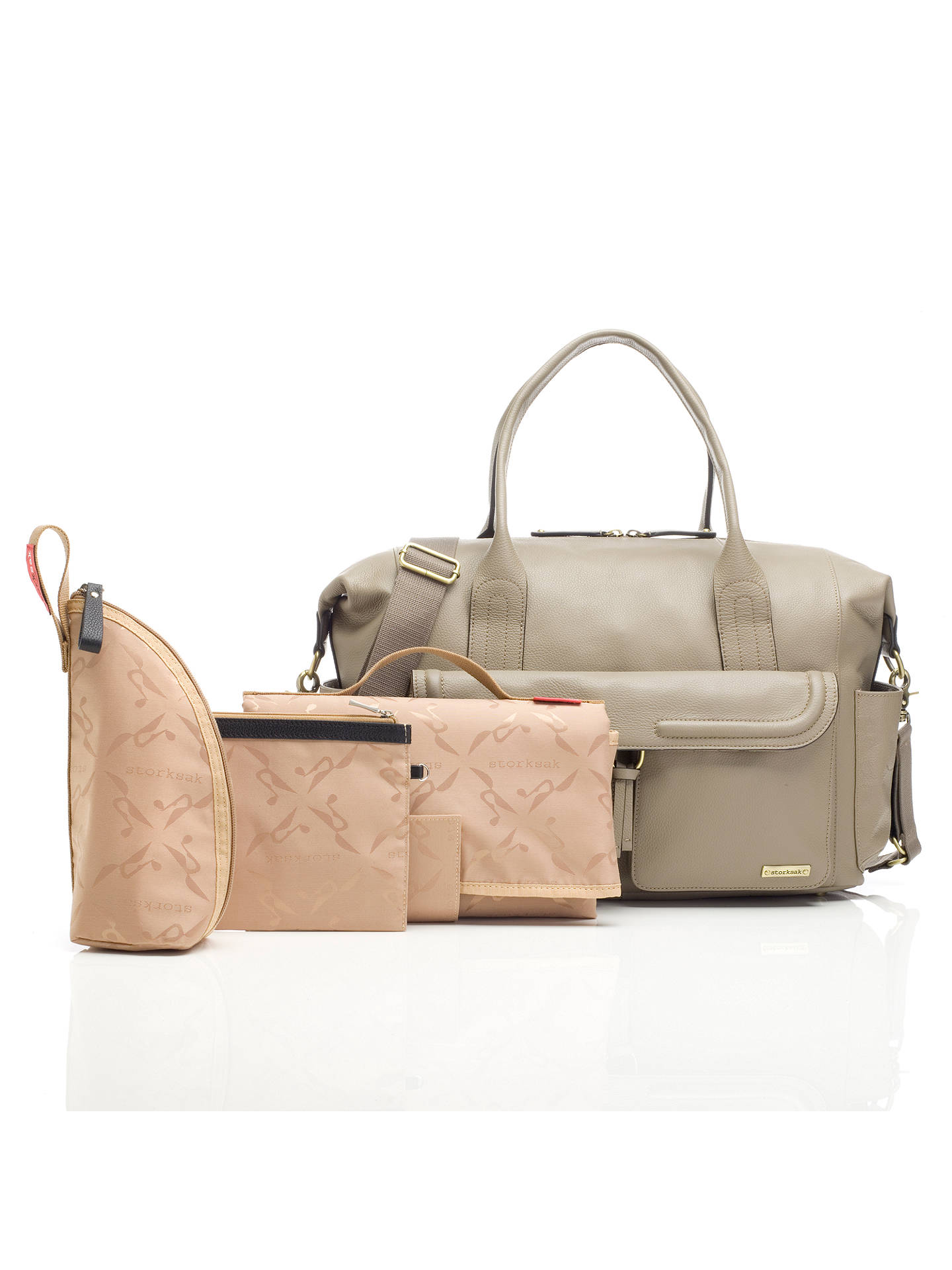 BuyStorksak Charlotte Leather Changing Bag, Clay Online at johnlewis.com