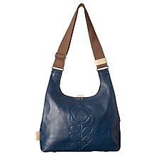 Buy Orla Kiely Leather Flower Medium Shoulder Bag, Indigo Online at johnlewis.com